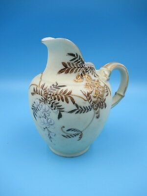 "Antique Japanese Cream Background Satsuma Gilt HP Enamel Fuchsia 5 3/8"" Pitcher"