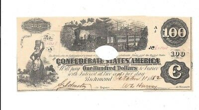 Nice 1862 $100 Confederate States Of America Richmond Virginia Punch Cancelled