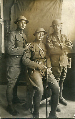 Real Photo PC: Three African-American NCO's in Helmets/French  Equipment