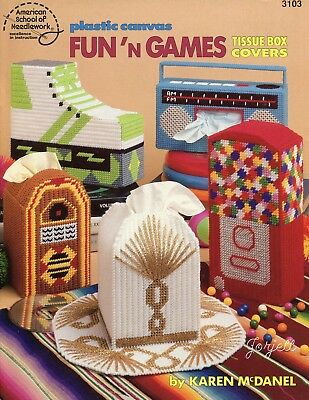 Fun 'n Games Tissue Box Covers ~ 7 Unique Styles plastic canvas pattern book NEW
