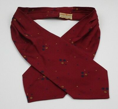 Vintage Silk Ascot Cravat Tie Red Geometric Made in Italy Petisciarp Marea 1970s