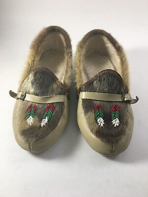 Native American Moccasins Tan With Red, Green & White Beading