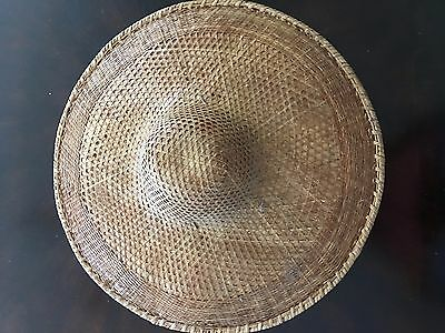 vtg COOLIE HAT Asian sun rice patty bamboo straw conical Chinese
