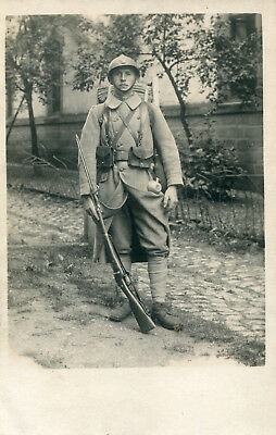 Real Photo PC:  Late War French Combat Engineer w/Berthier Rifle & Bayonet