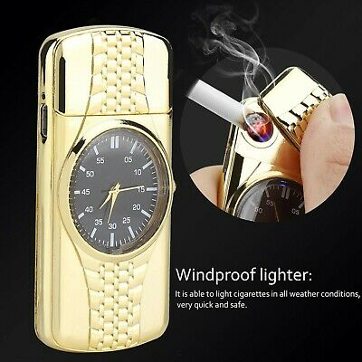 Clock Rechargeable Windproof Lighter USB LIGHTER Electric GIFT BOX No Gas