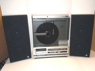 MITSUBISHI X-12 Vertical Turntable Set w/ Speakers. Working RADIO & TURNTABLE.A+