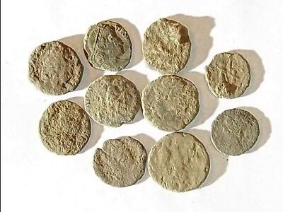 10 ANCIENT ROMAN COINS AE3 - Uncleaned and As Found! - Unique Lot X