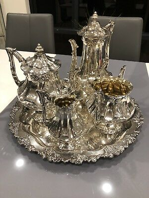 Antique Victorian Silver 4 Piece Tea Set London Teapot, Coffee Pot) With Tray