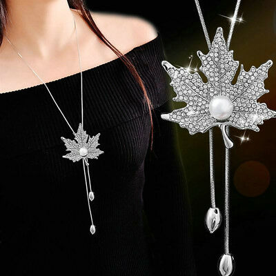 Charm Women Crystal Leaves Pendant Long Chain Sweater Necklace Jewelry Gift *tr