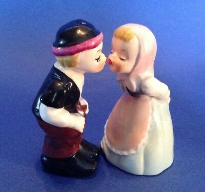 Napco Salt And Pepper Shakers - Kissing Swiss Boy And Girl  - Hand Painted Japan