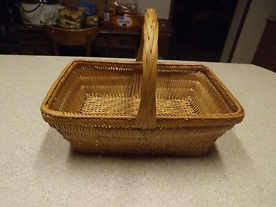 """Vintage Wicker Rattan Woven Rectangular Basket With Handle  Size 12"""" Length"""