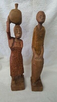 Vintage Hand Carved Wood African Man & Woman Figures Statues Kenya Tribal
