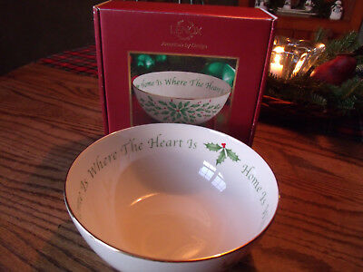 """Lenox Holiday Sentiment Bowl """"Home Is Where the Heart Is""""-Holly-in Box"""