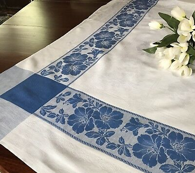 Vintage Blue and White Linen Damask Tablecloth Square