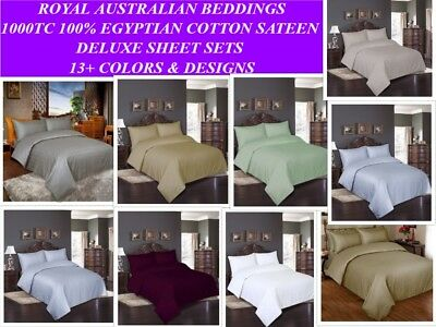 1000TC 100% Egyptian Cotton Sateen  4 Pieces Sheet Sets- Flat+Fitted+ 2 Pillows