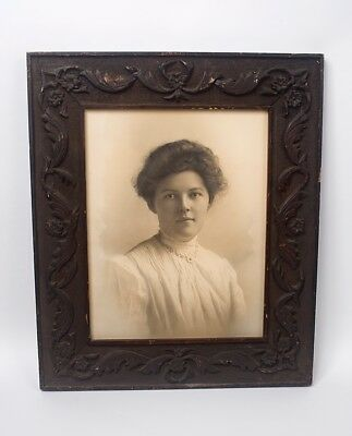 Large Antique Photo In Original Hand Carved Solid Wood Frame 1800's-early 1900's