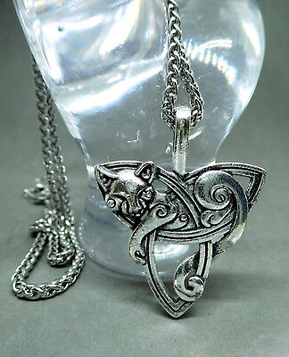 Necklace Unisex, Cat Entwined In Celtic Triquesta, Braided Chain - 02824