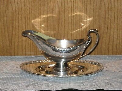 Vintage Forbes Silverplated Acanthus Gravy Boat w/Underplate