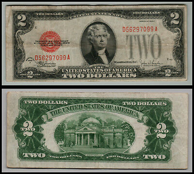 1928F $2 Dollar  Us Note Legal Tender Paper Money  Red Seal G577