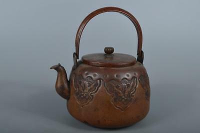 R4068: Japanese XF Old COPPER BOTTLE Teapot Dobin Tea Ceremony Flower sculpture