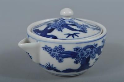 R4108: Japanese Kutani-ware Blue&White TEA POT Houhin Sencha Tea Ceremony