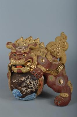 R4120: Japanese Old Kutani-ware Flower pattern Lion STATUE sculpture Ornament