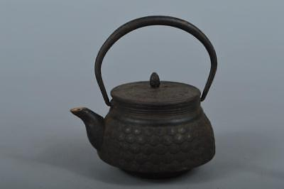 R4290: Japanese Iron Flower sculpture TEA KETTLE Teapot Tetsubin Tea Ceremony