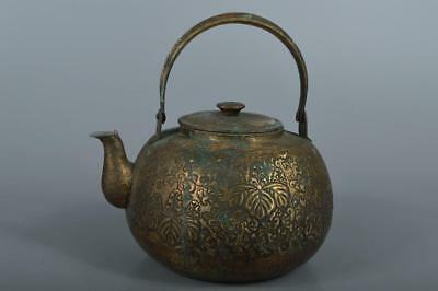 R4365: Japanese Paulownia Arabesque sculpture OLD COPPER BOTTLE Teapot Dobin