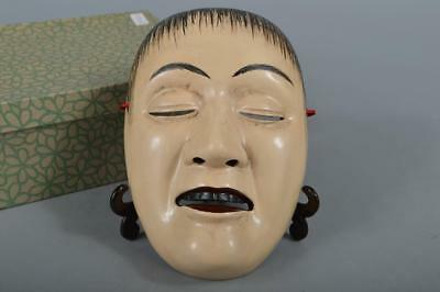 R4430: Japanese Pottery Colored porcelain MASK Human face Ornaments Display