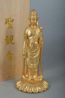 R4556: Japanese Metal GUANYIN BUDDHIST STATUE Kannon w/signed box Buddhist art