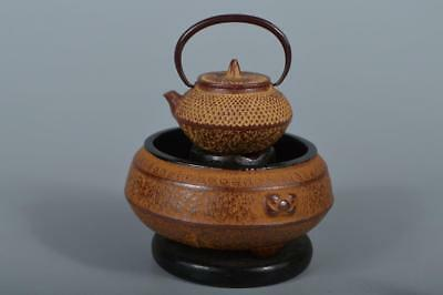 R4627: Japanese Iron Chacoal brazier Hibachi-shaped ORNAMENTS Display Okimono