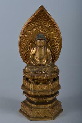 R4805: Japanese Wood carving BUDDHIST STATUE sculpture Ornament Buddhist art