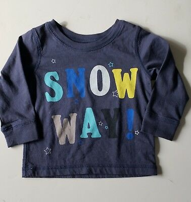 "Peek navy long sleeve boys shirt saying ""Snow Way"" 6/12 months NWOT"