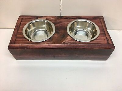 """3"""" Elevated Pet Food Bowl Feeder Stand Raised for Cats & Small Dogs Black Cherry"""