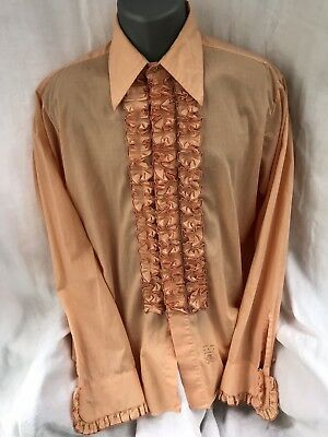 Lion Of Troy Vintage Tuxedo Shirt Large 34/35 Ruffles French Cuff Peachy/Orange