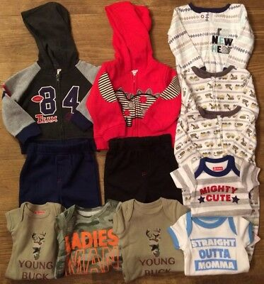 Mixed Lot 12 Ct Boys Size 0-6 Month One Piece Hoodie Pants Sports Camo Equipment
