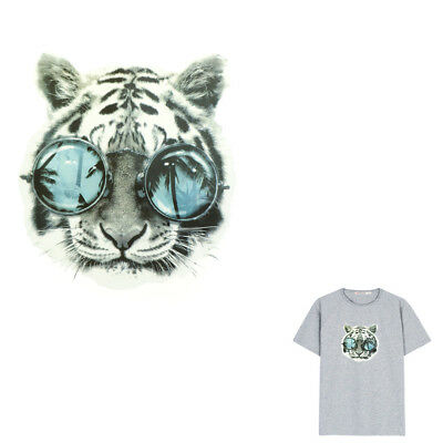Glasses Tiger Iron On Patches Washable Heat Transfer Sticker T-Shirt Applique OX
