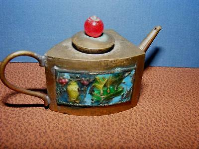 Unusual ANTIQUE Miniature Mini CLOISONNE CHINESE TEAPOT Carnelian Bead Lid Small