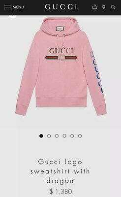 3f3ede33a Gucci Oversized Pink Cotton Logo Sweatshirt With Dragon, 100% AUTHENTIC,  $1,380!