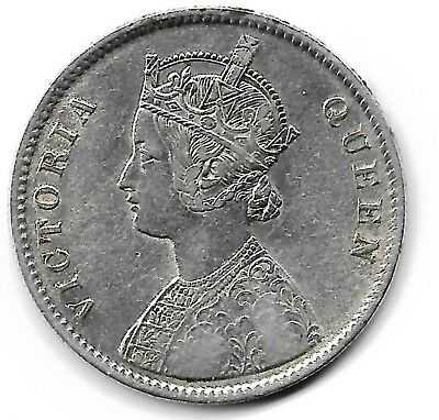 India British 1862 one rupee silver coin