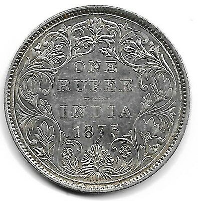 India British 1875 one rupee silver coin