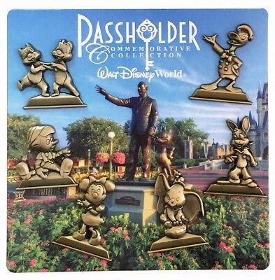 2016 Disney WDW Annual Passholder Gold Statues Set of 6 Pins Only R3
