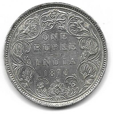 India British 1876 one rupee silver coin