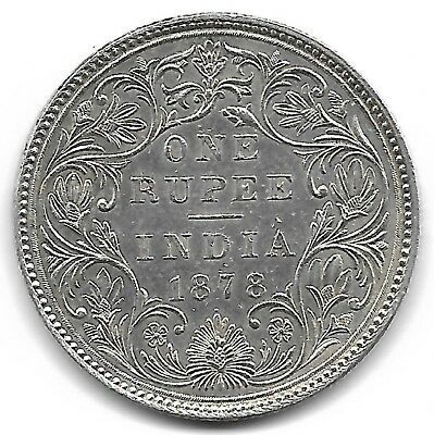 India British 1878 one rupee silver coin