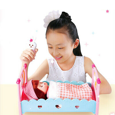 17pcs Kids Pretend Parents Role Play Toy Baby Girl Bed Cot Make Up Playset