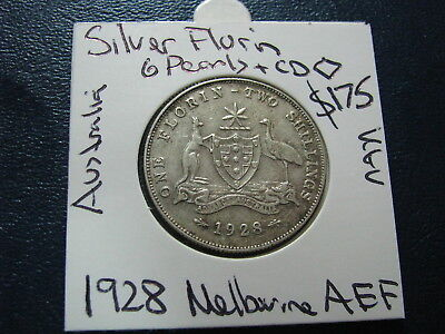 Australia Florin 1928 Silver King George V Nice About Extra Fine Pearls Coin