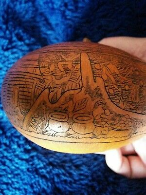 Peruvian hand carved Gourd Antique Folk art Peru