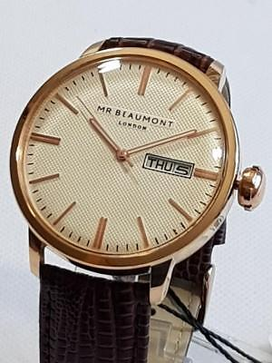 Mens Watch Vintage Retro Style By UK Designer Mr Beaumont Rose Gold Case Leather