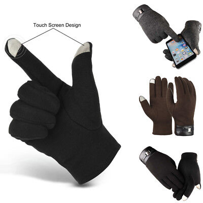 Men's Full Finger Smart Phone Touch Screen Gloves Cashmere Warm Mittens Outdoor