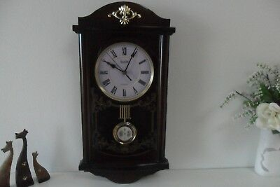 Vintage Acctim Wood Effect Pendulum And Chime Wall Clock